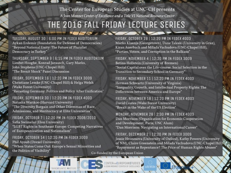 2016 Fall Friday Lecture Series poster.