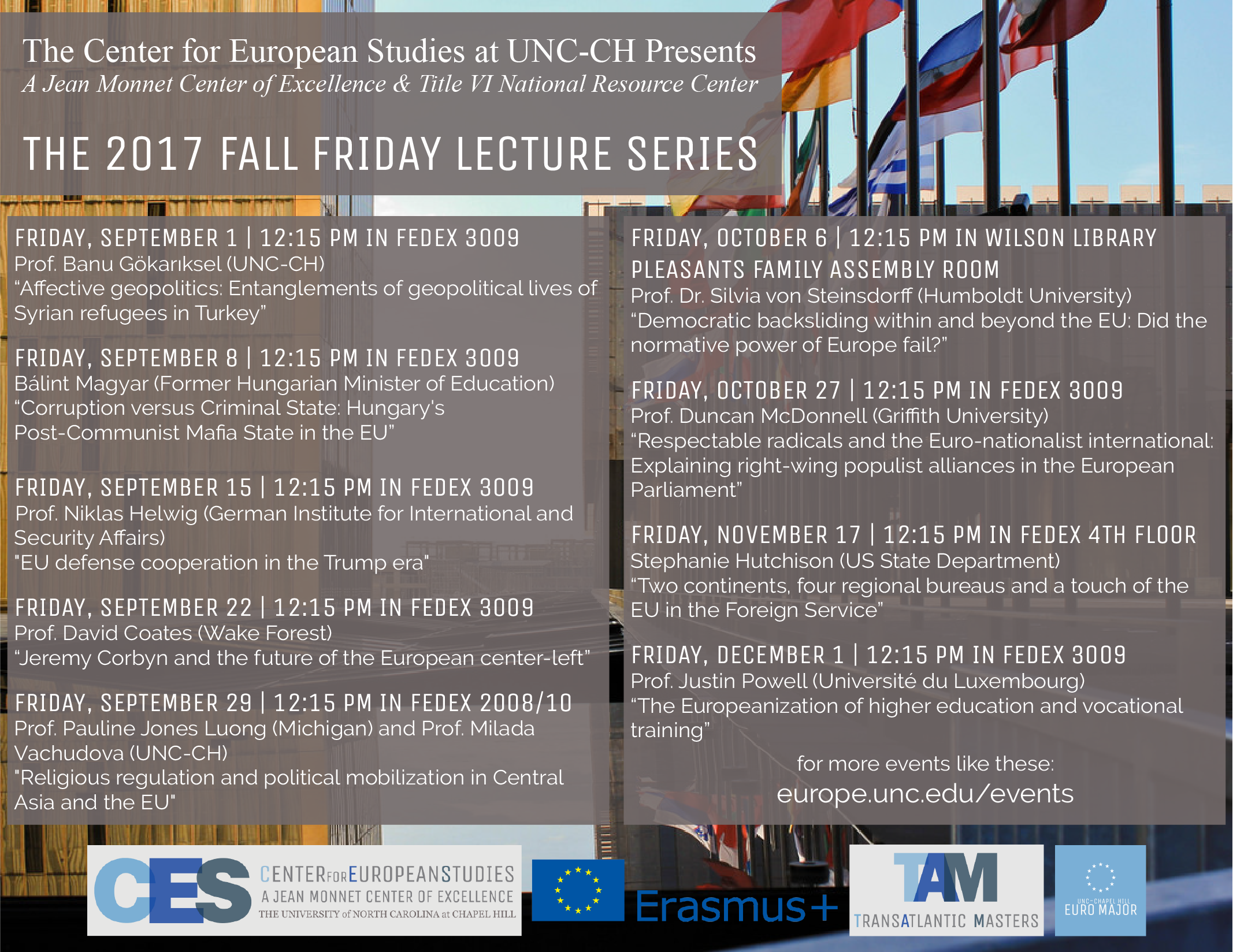 2017 Fall Lecture Series Poster.