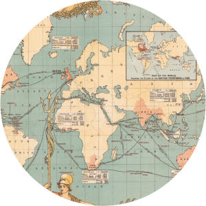 Decorative clipped image of 1886 map of British Empire.
