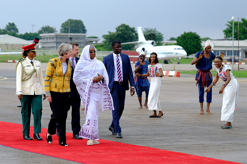 Prime Minister Theresa May arrives in Nigeria.