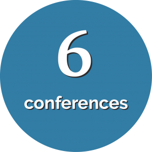 Circle with text that says 6 conferences.