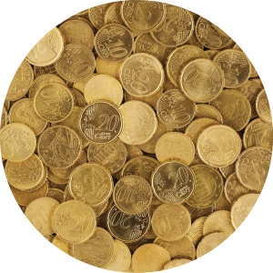 Decorative circular photo of euro coins.