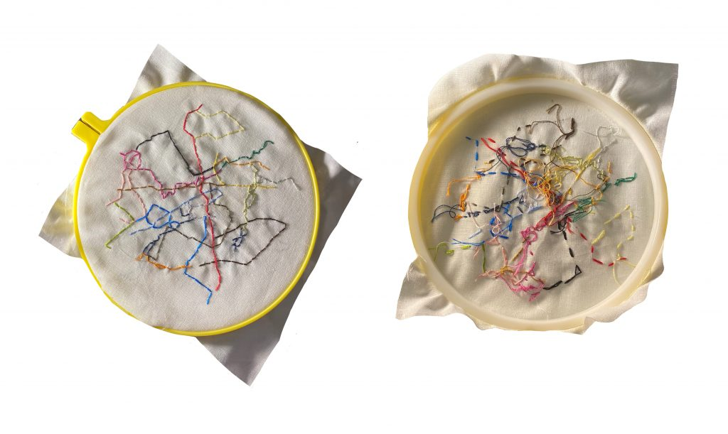 Front and back view of embroidery that looks like map.