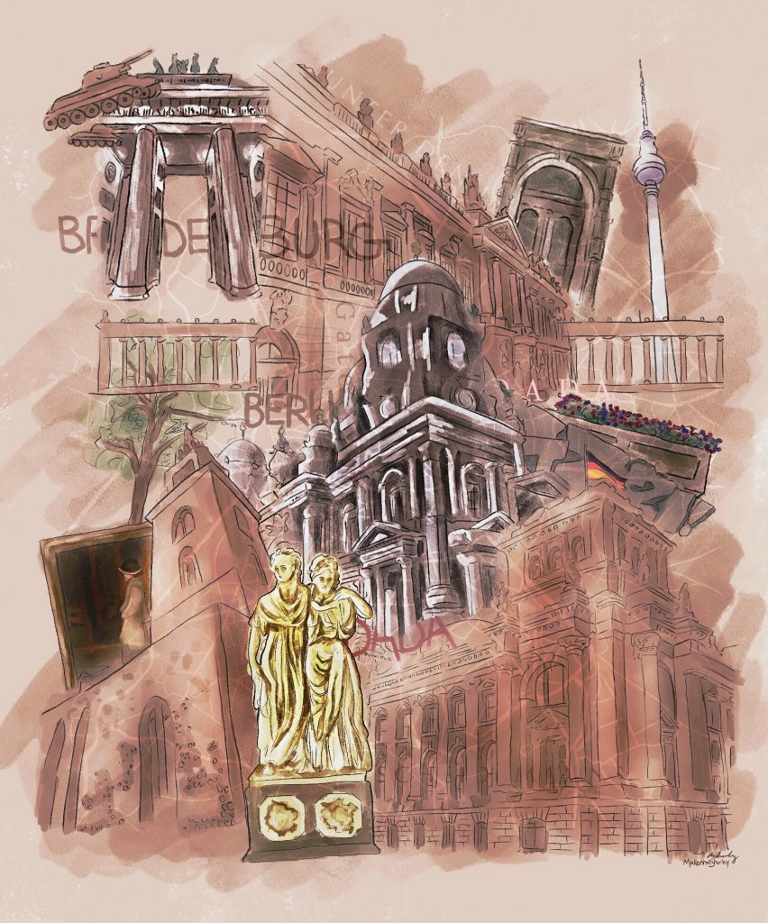 Watercolor painting with collage-like effect of landmarks in Berlin.