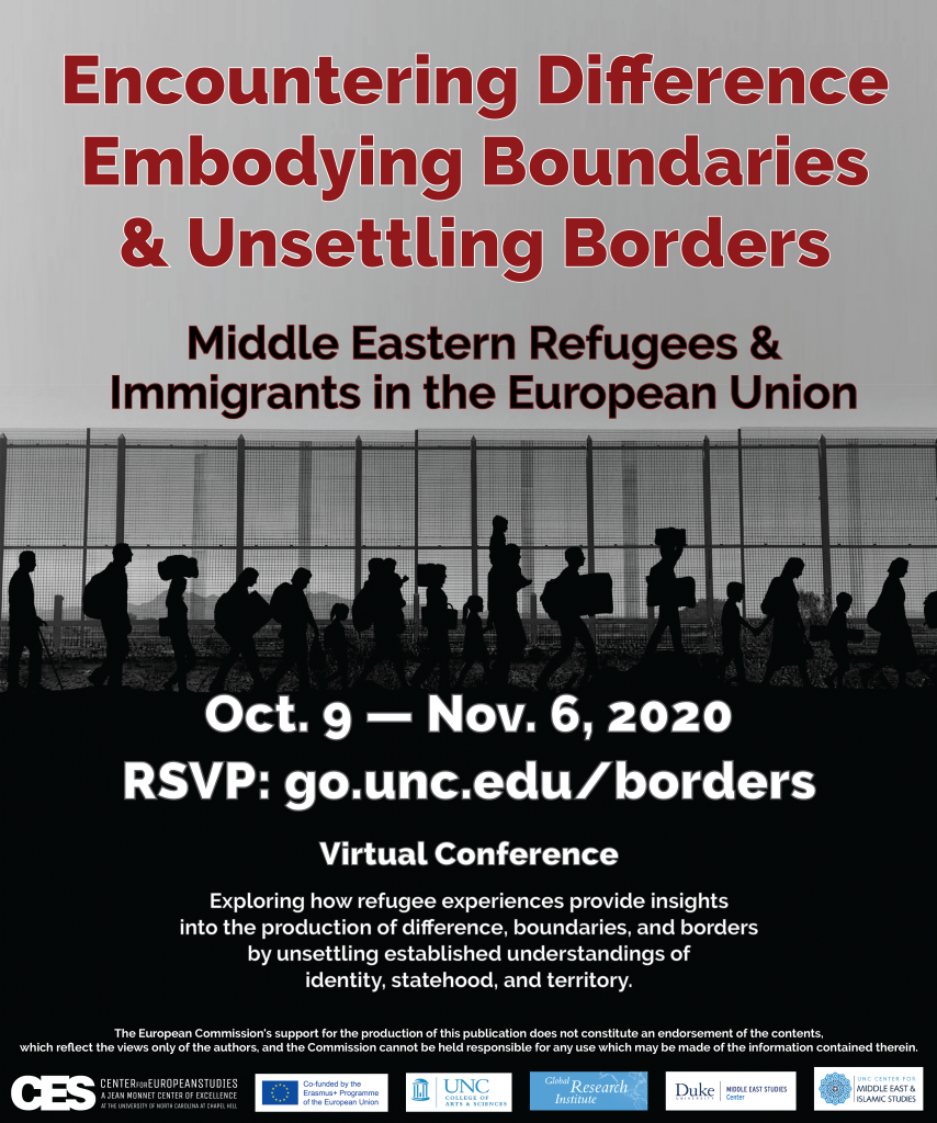 Flyer advertising roundtable on learning with refugees on November 6 2020.