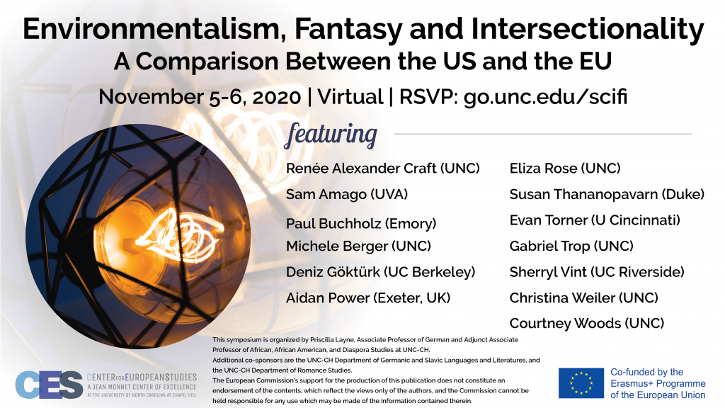 Flyer advertising conference on environmentalism fantasy and intersectionality on November 5 through 6 2020.