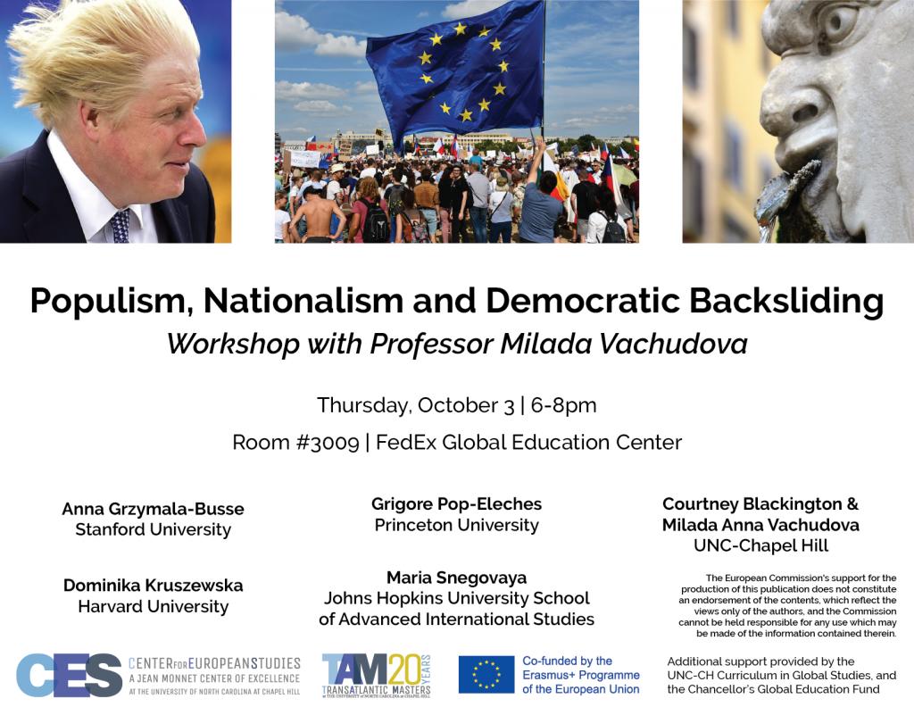 Flyer advertising workshop on populism on October 3 2019.