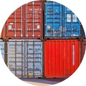 Decorative image of shipping containers stacked on top of each other.